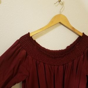 Plus off the shoulder Maroon shift dress